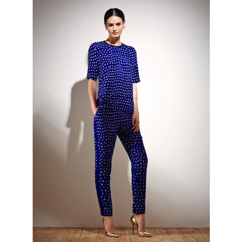 Hilda Trousers - Electric Blue Bandhani Silk