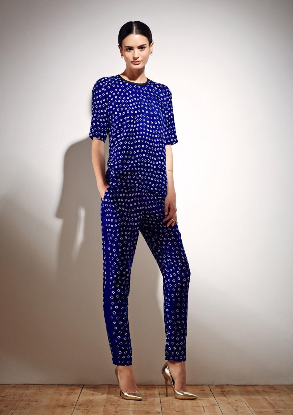 Hilda Trousers - Electric Blue Bandhani Cotton Viscose