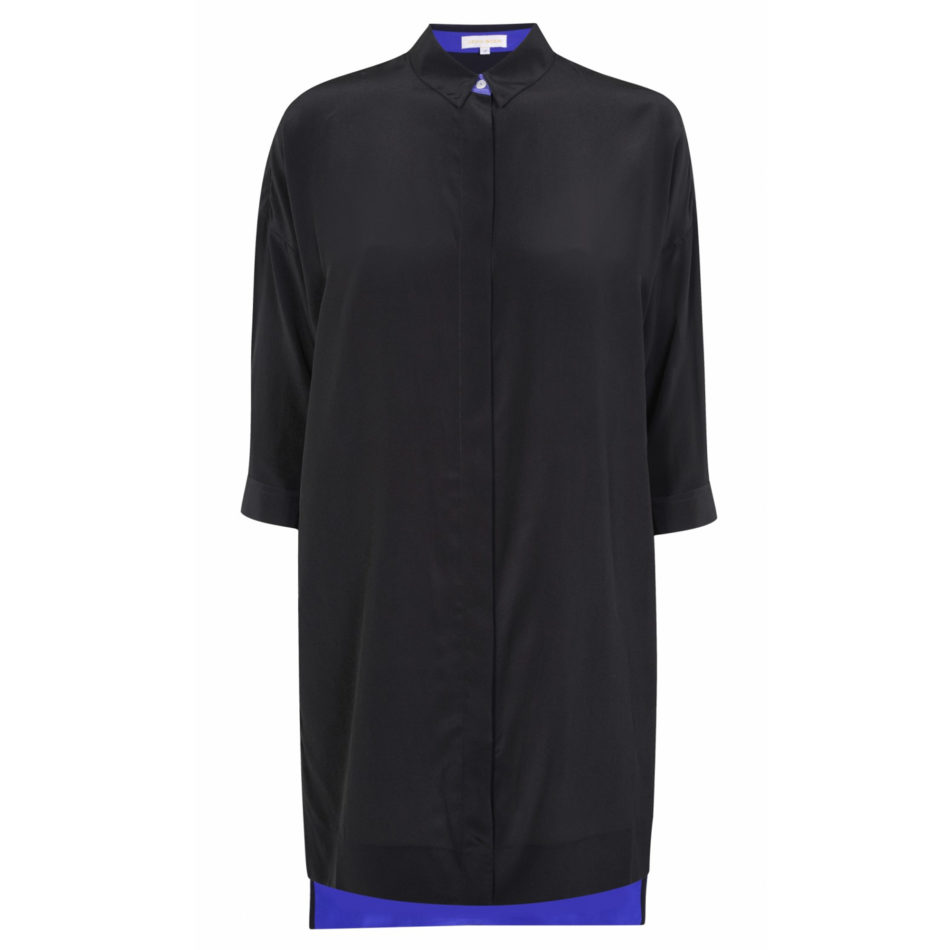 Malih Shirt Dress - Black Silk