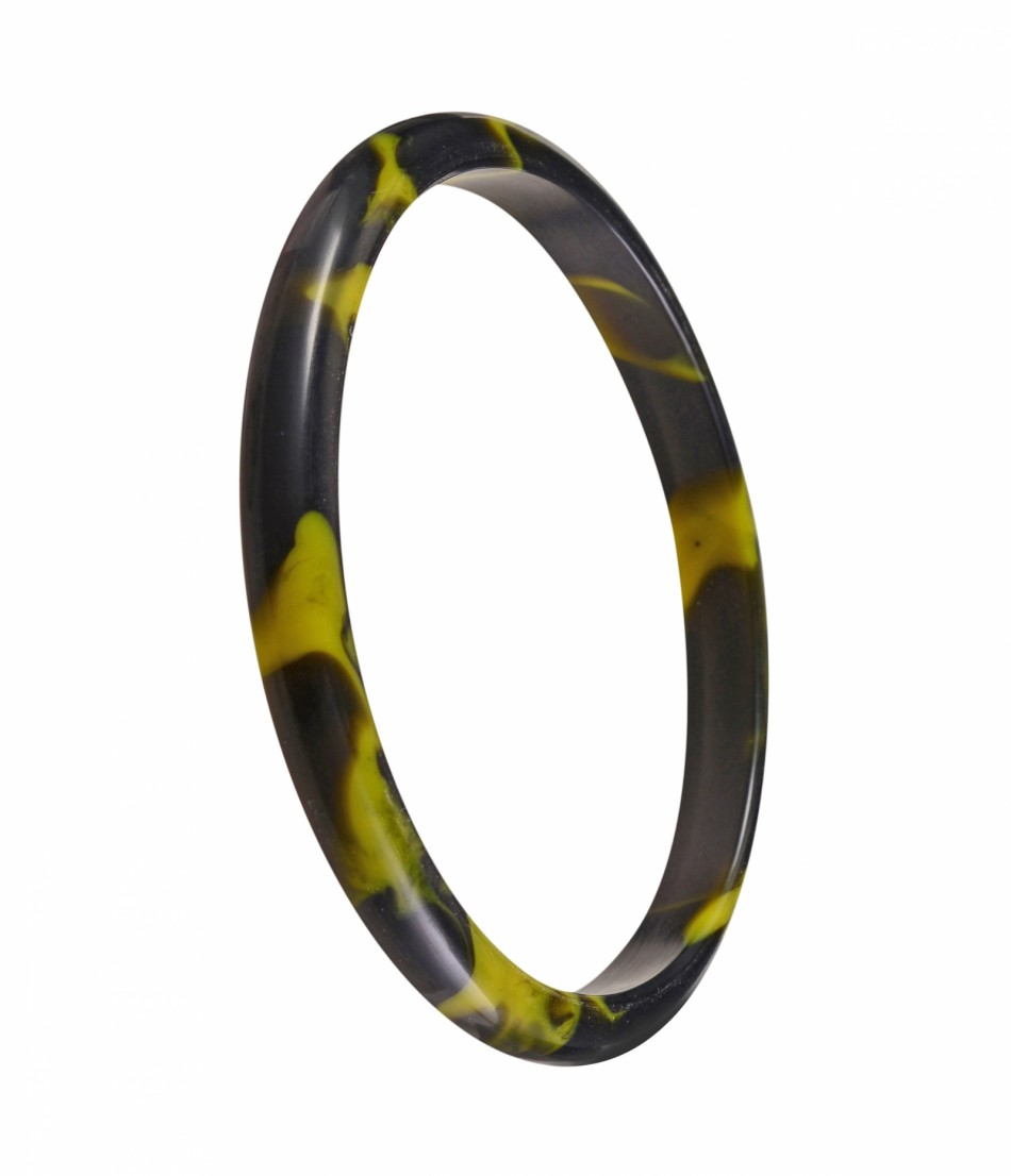 Nava Slim Bangle - Black/Tarragon