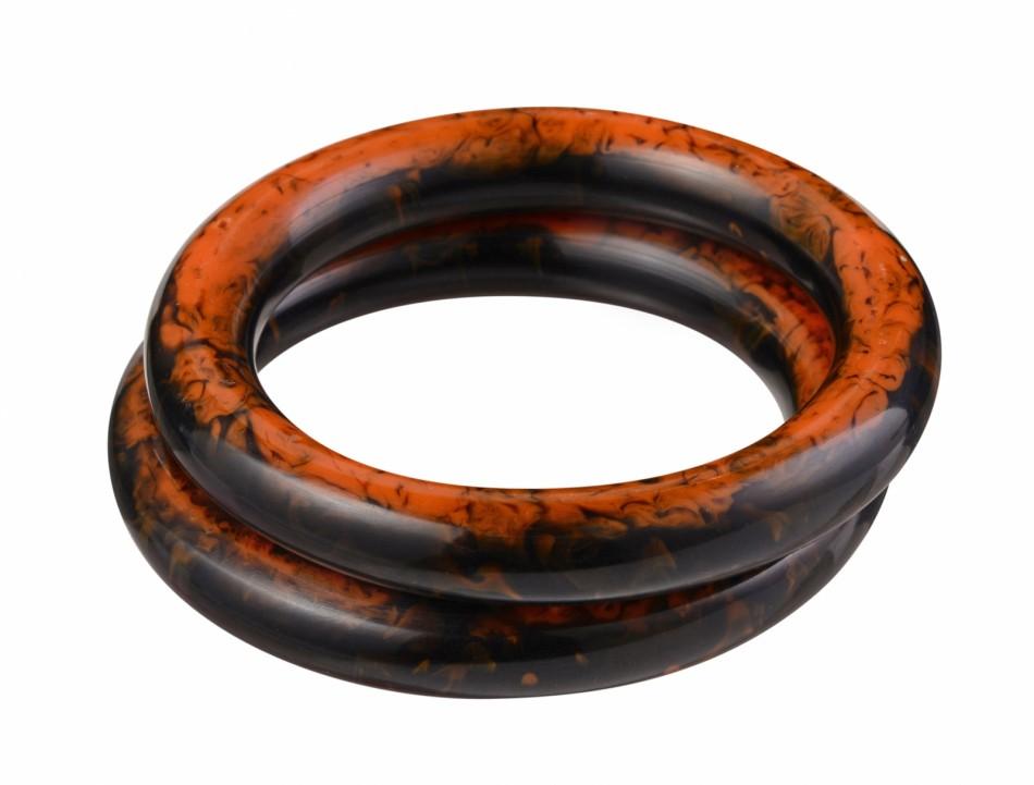 Nava Large Bangle - Black/Orange