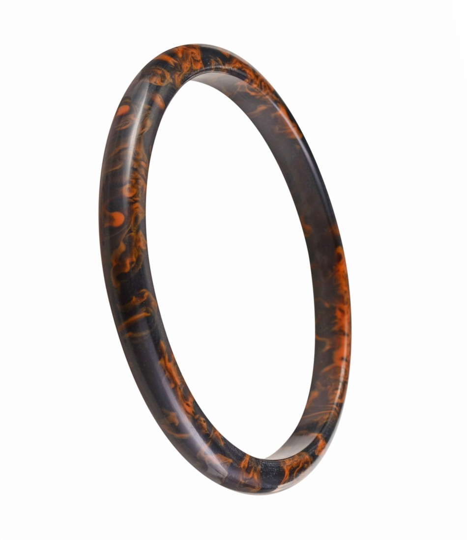 Nava Slim Bangle - Black Orange