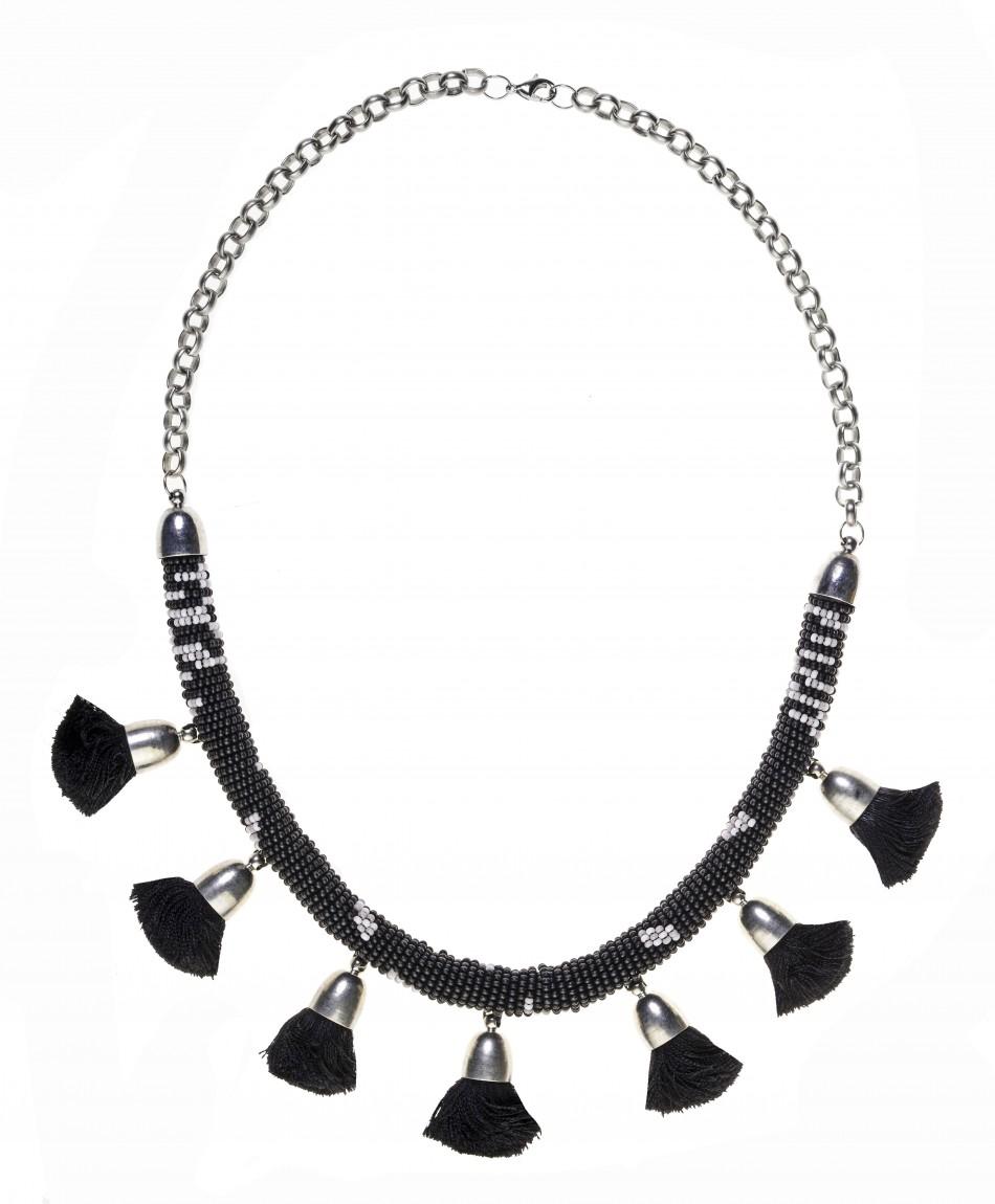 Pom Pom Necklace - Black
