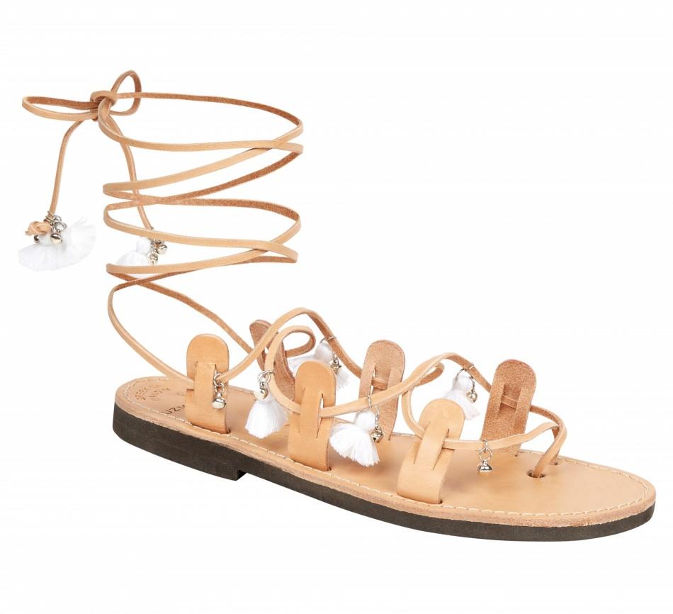 Mati Sandals - Tan/White