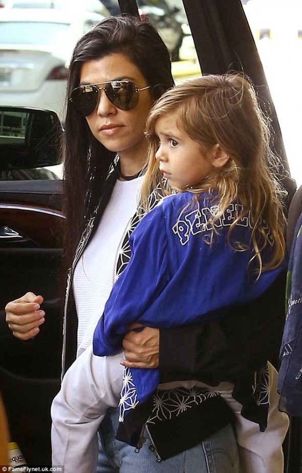 Kourtney Kardashian & Daughter Penelope Wear Matching Uzma Bozai Bomber Jackets
