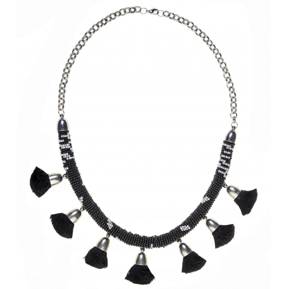 Pom Pom Necklace - Black