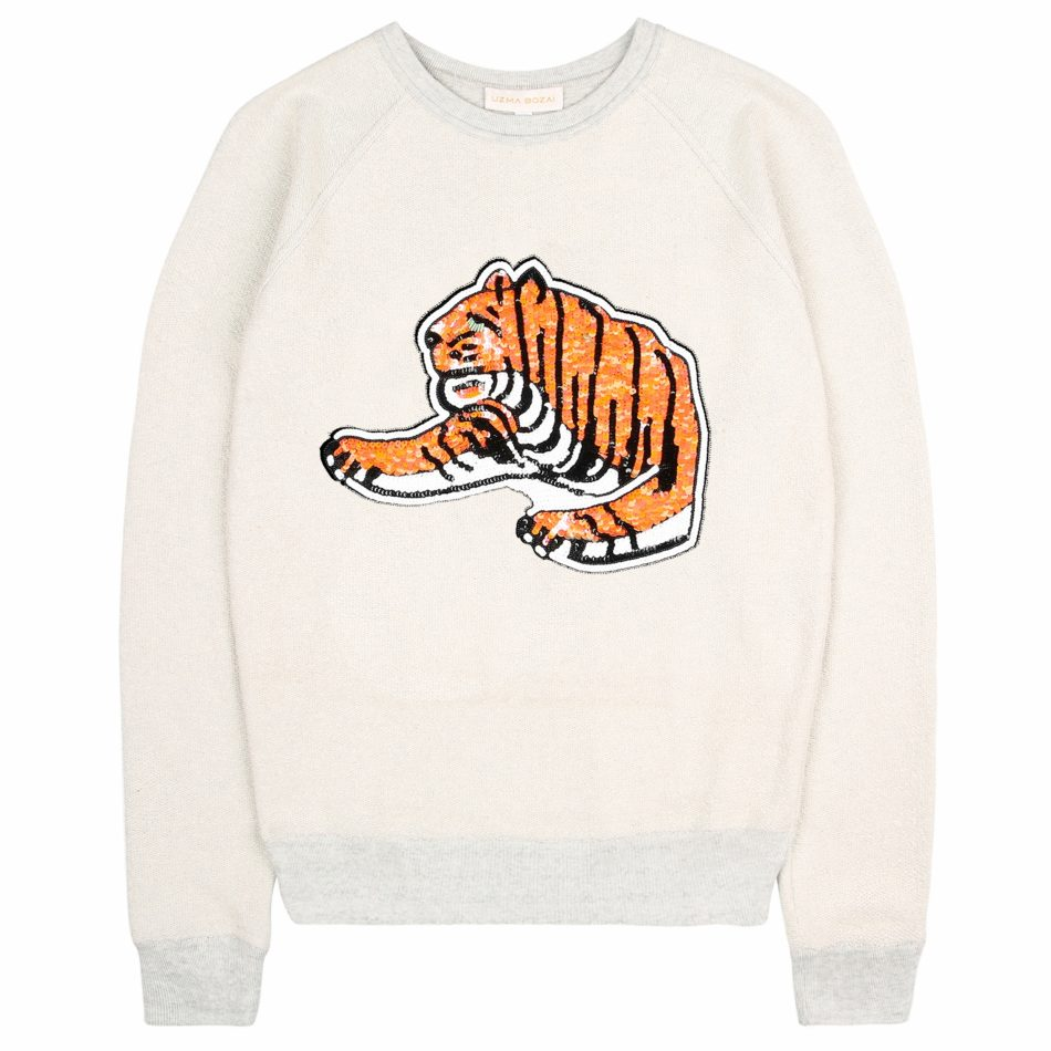 Uzma Bozai's Tiger Sweatshirt in Ecru