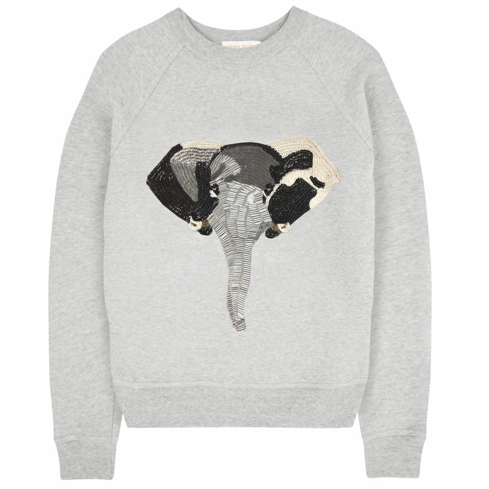 Uzma Bozai's Elephant Sweatshirt in Grey