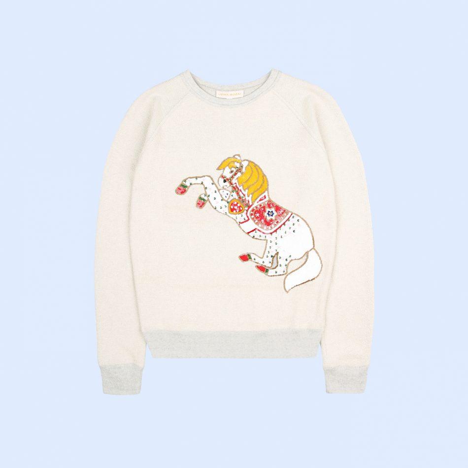 Uzma Bozai's Mini Me Horse Sweatshirt in Ecru