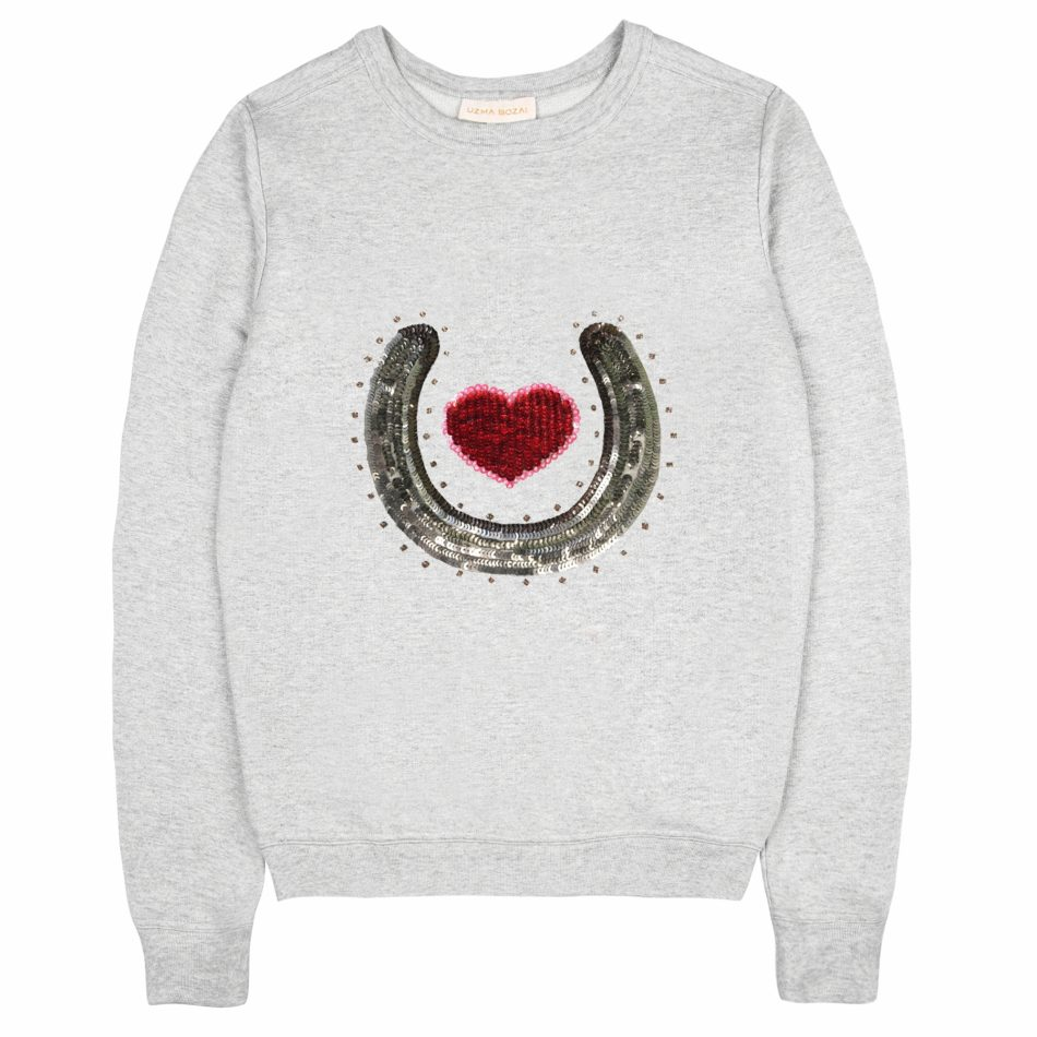 Be Lucky In Love – Uzma Bozai's Bobby horse shoe sweatshirt