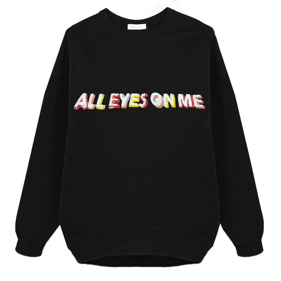 All Eyes On Me Oversized Sweatshirt – Black