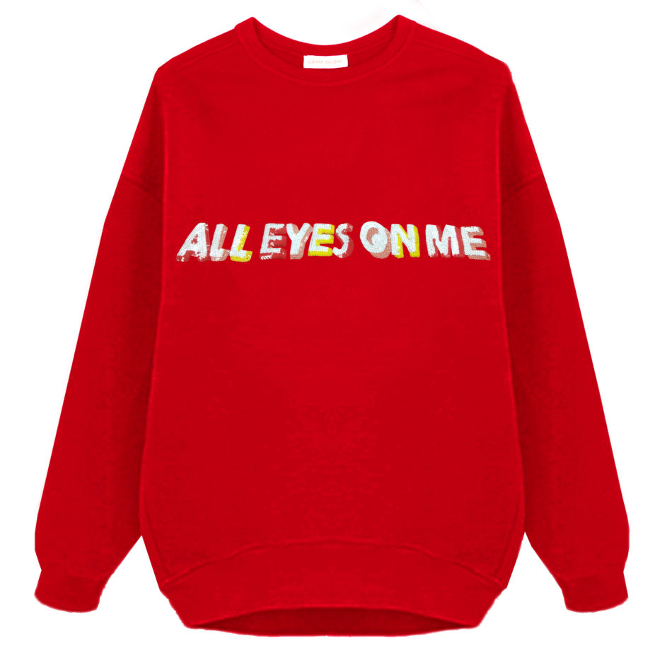 All Eyes On Me Oversized Sweatshirt (Scarlet) - Unisex