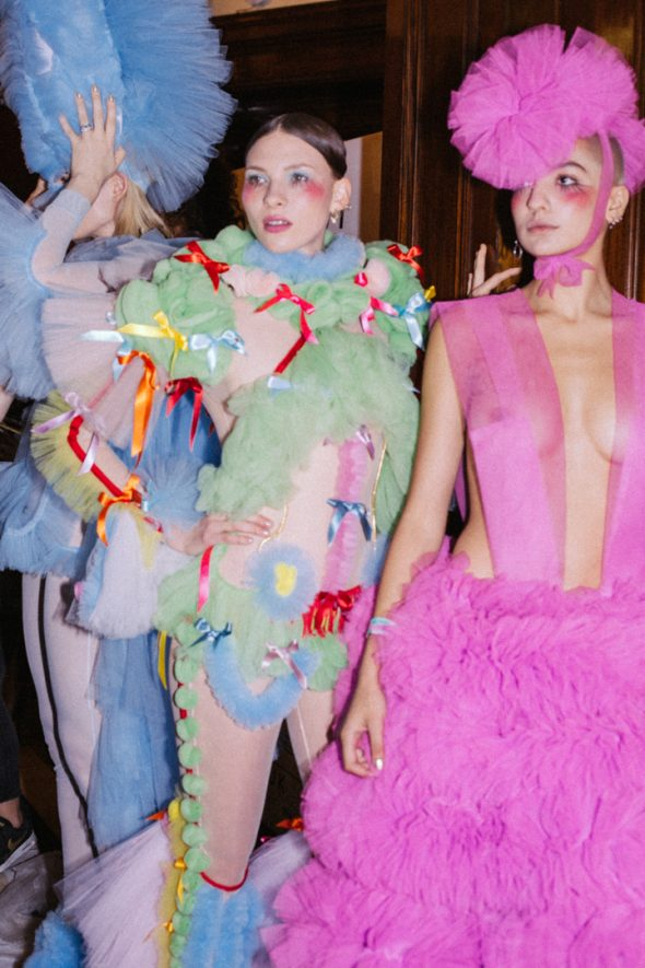Colourfully dressed models at LFW SS19 Pam Hogg