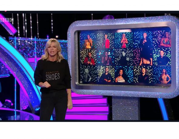 Zoe Ball shines in Uzma Bozai's Dancing Shoes sweatshirt.