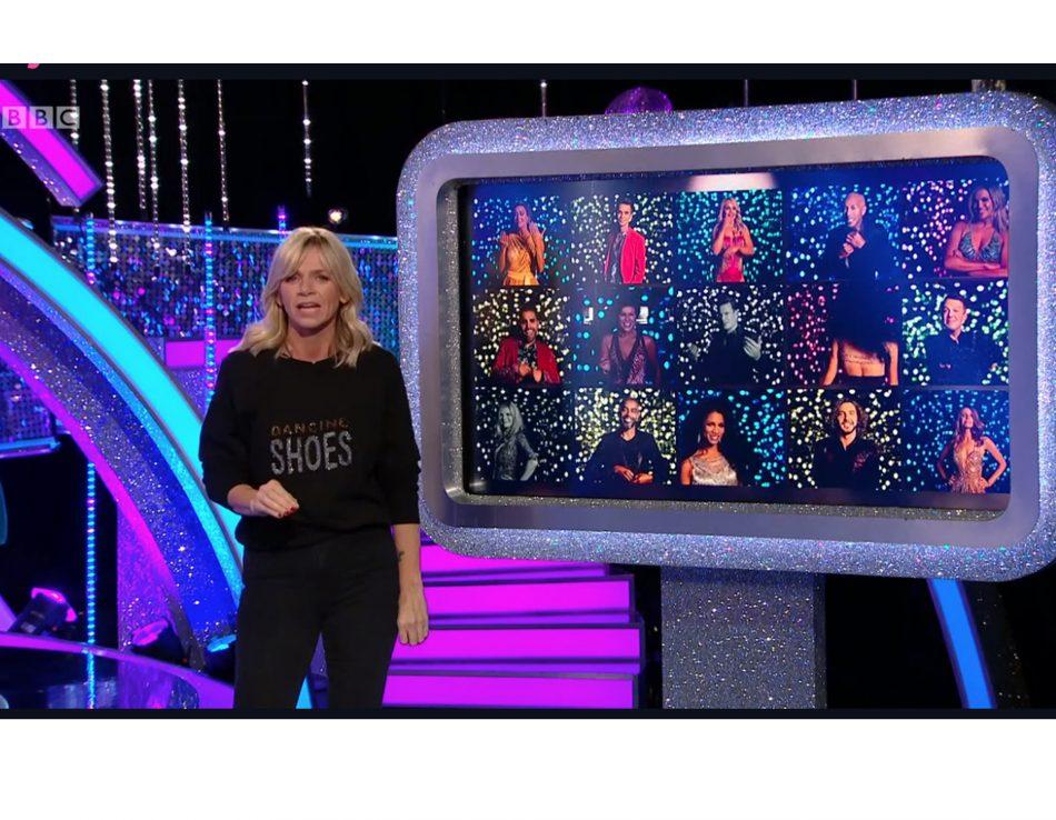 Zoe Ball shines in Uzma Bozai's Dancing Shoes sweatshirt.