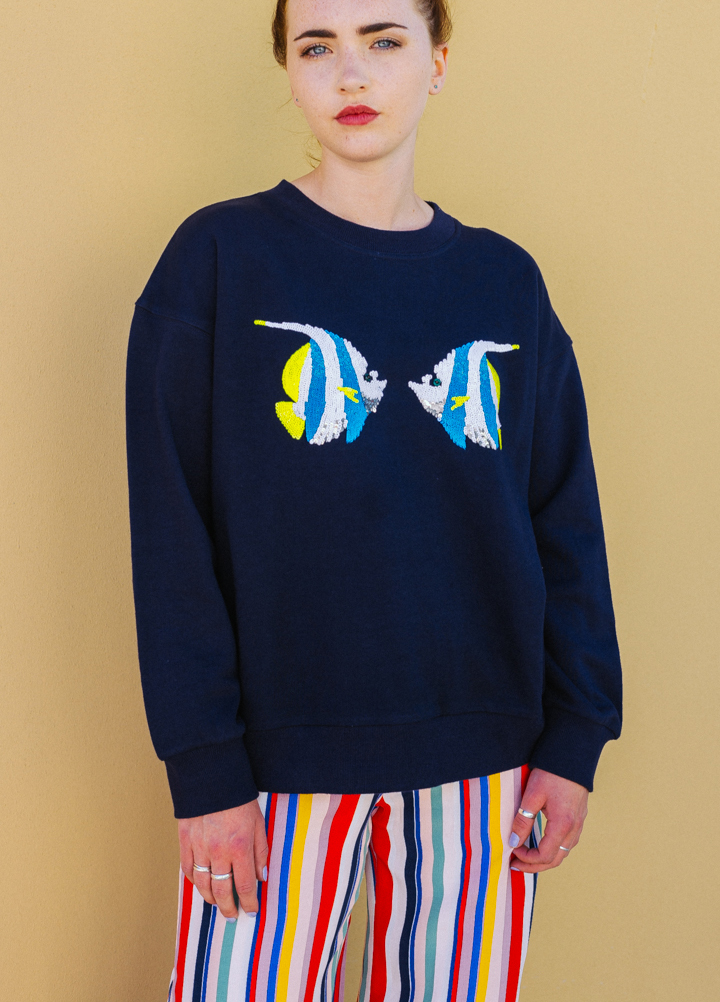 Uzma Bozai 'Faye' Kissing Fish Sweatshirt